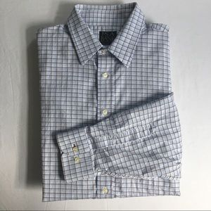 Jos A. Bank EUC brown and blue windowpane shirt